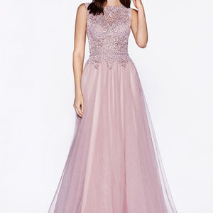Illusion Neckline Party Long Dress